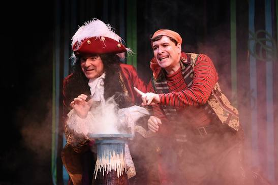 Donald Corren (Captain Hook) and Kraig Swartz (Pirate Smee) in the Syracuse Stage production PETER PAN. Photo by Brenna Merritt.