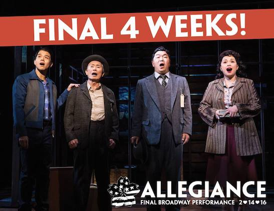 Telly Leung, George Takei, Christopheren Nomura and Lea Salonga in 'Allegiance'. Photo by Matt Murphy