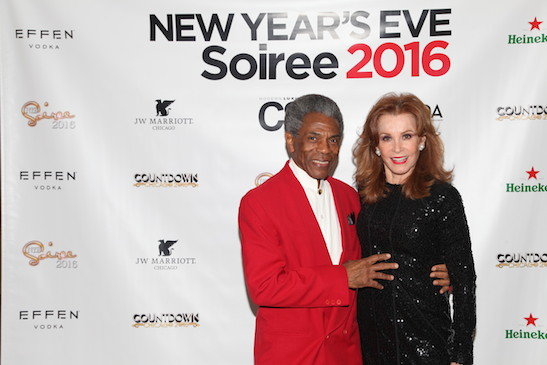 Gotta Dance stars André Robin De Shields and Stefanie Powers on New Year's Eve at JW Marriott Chicago on December 31, 2015. Photo: @RachelHeimerman/RachelMariePhoto