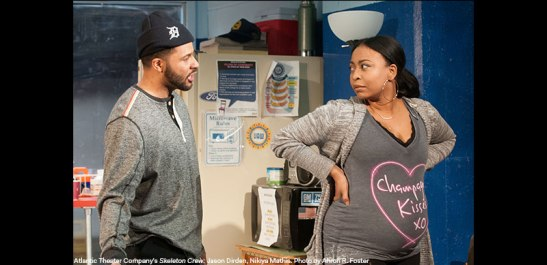 Jason Dirden and Nikiya Mathis in Atlantic Theater Company's Skeleton Crew. Photo by Ahron R. Foster