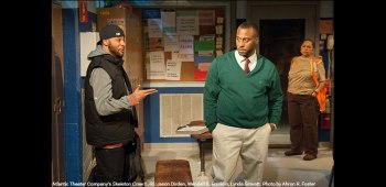 Jason Dirden and Wendell B. Franklin in Atlantic Theater Company's Skeleton Crew. Photo by Ahron R. Foster