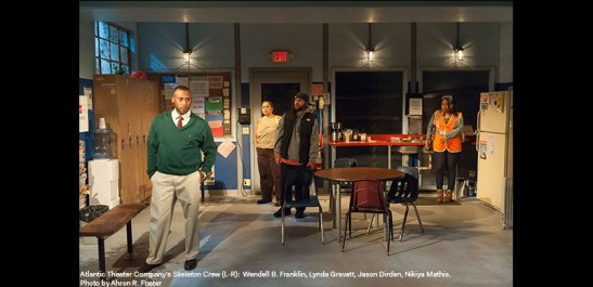 Wendell B. Franklin, Lynda Gravatt, Jason Dirden and Nikiya Mathis in Atlantic Theater Company's Skeleton Crew. Photo by Ahron R. Foster