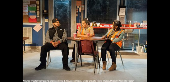 Jason Dirden, Lynda Gravatt and Nikiya Mathis in Atlantic Theater Company's Skeleton Crew. Photo by Ahron R. Foster