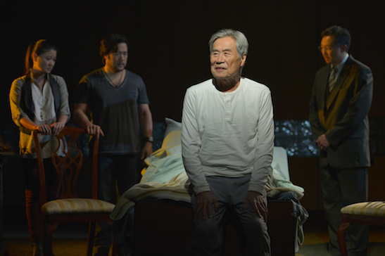 (l to r) Jennifer Lim (Cornelia), Tim Kang (Ray), Sab Shimono (Ray's father), and Joseph Steven Yang (Uncle) in Julia Cho's Aubergine at Berkeley Rep. Photo courtesy of kevinberne.com