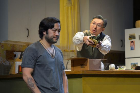 (l to r) Tim Kang (Ray) and Joseph Steven Yang (Uncle) in Julia Cho's Aubergine at Berkeley Rep. Photo courtesy of kevinberne.com