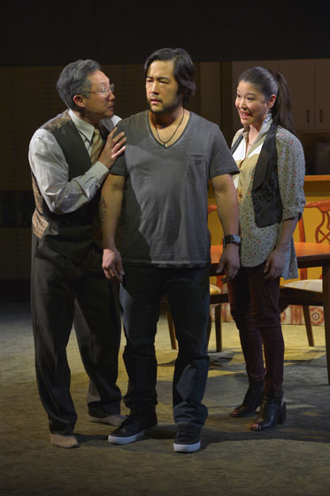 (l to r) Joseph Steven Yang (Uncle), Tim Kang (Ray), and Jennifer Lim (Cornelia) in Julia Cho's Aubergine at Berkeley Rep. Photo courtesy of kevinberne.com