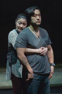 Jennifer Lim (Cornelia) and Tim Kang (Ray) in Julia Cho's Aubergine at Berkeley Rep. Photo courtesy of kevinberne.com