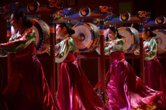 Korean Performing Arts Center drummers. Photograph by Don Pollard. Courtesy of The Metropolitan Museum of Art