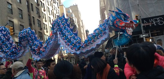 "Dragon dancers at ""Madison Street to Madison Avenue"" Lunar New Year Celebration on Feb. 6, 2016 in New York City. Photo by Lia Chang"