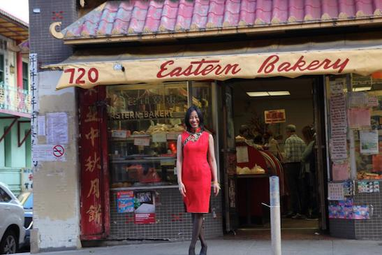 Lia Chang in her custom-tailored red cheongsam from Hong Kong in San Francisco Chinatown. Photo by Marissa Chang-Flores