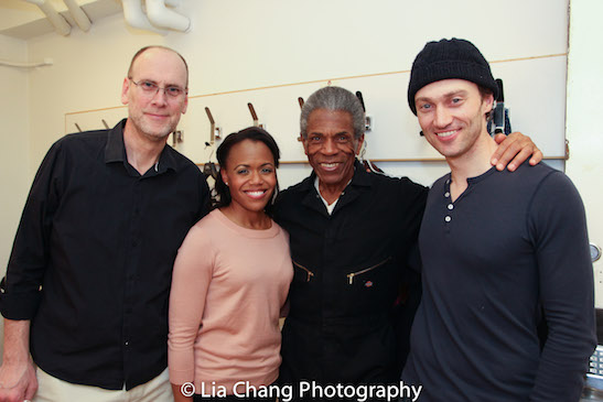"""Music Director Ben Whitely, Nikki Renée Daniels, André De Shields and Bryce Pinkham backstage after the dress rehearsal of """"1776"""" at New York City Center on March 29, 2016. Photo by Lia Chang"""