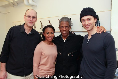 "Music Director Ben Whitely, Nikki Renée Daniels, André De Shields and Bryce Pinkham backstage after the dress rehearsal of ""1776"" at New York City Center on March 29, 2016. Photo by Lia Chang"