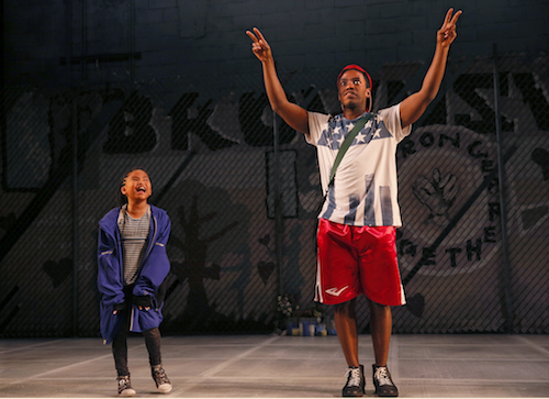 "Catherine Ting Karman and Chinaza Uche in ""brownsville song (b-side for tray)"" at Seattle Repertory Theatre. Photo by Chris Bennion."