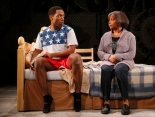 """Chinaza Uche and Denise Burse in """"brownsville song (b-side for tray))"""" at Seattle Repertory Theatre. Photo by Chris Bennion."""