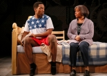"Chinaza Uche and Denise Burse in ""brownsville song (b-side for tray))"" at Seattle Repertory Theatre. Photo by Chris Bennion."