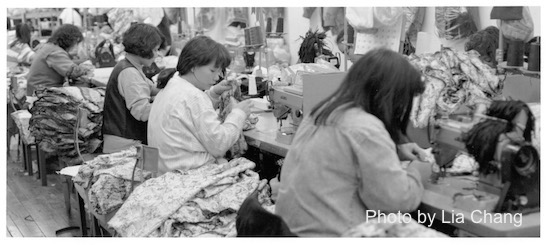 Garment workers in a New York Chinatown garment factory in 1995. Photo by Lia Chang/APALA