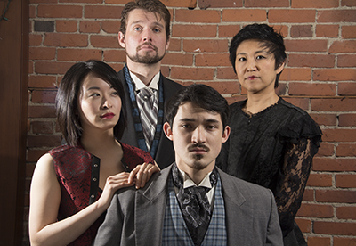 A Yao clan portrait, with brother Anders (Sean Schroeder) sitting in front, the sisters Wilhemina (Stephanie Kim-Bryan) and Delphine (Mariko Kita) in the middle and Kenzo (Tim Gagne) in back. But how long can the peace last? Photo by Roger Tang