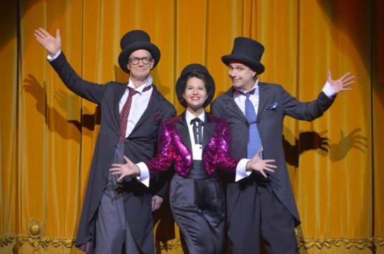 Bill Irwin, Shaina Taub and David Shiner. Photo by Kevin Berne