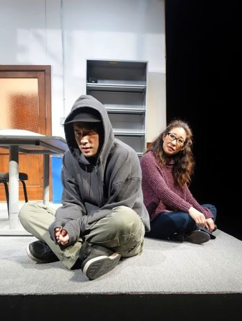 Raymond Lee and Sandra Oh in South Coast Rep's production of Julia Cho's OFFICE HOUR. Photo: SCR/Facebook