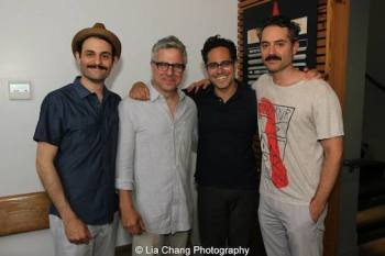 Arian Moayed, Neil Pepe, Rajiv Joseph and Omar Metwally at the Atlantic Theater Company in New York. Photo by Lia Chang
