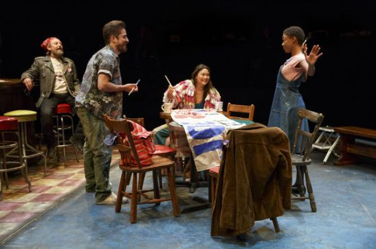 Gordon Joseph Weiss as Rey, Matthew Saldivar as Pablo, K.K. Moggie as Jenn and Samira Wiley as Ruby. Photo by Joan Marcus