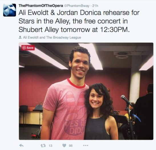 Jordan Donica and Ali Ewoldt. Photo courtesy of THE PHANTOM OF THE OPERA Twitter.