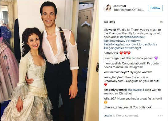 Ali Ewoldt and Jordan Donica backstage at THE PHANTOM OF THE OPERA at The Majestic Theatre in New York on June 13, 2016. Photo courtesy of Ali Ewoldt/Instagram