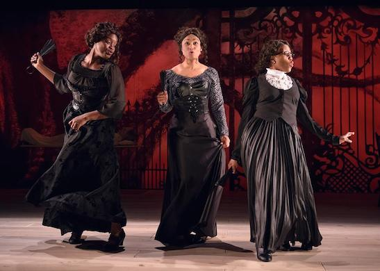Aneisa Hicks, Diana Coates, and Angela Alise in THE HOUSE THAT WILL NOT STAND. Photo by Michael Courier.