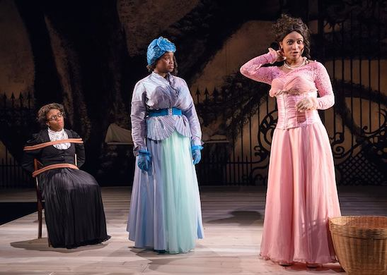 Angela Alise, Aneisa Hicks, and Diana Coates in THE HOUSE THAT WILL NOT STAND. Photo by Michael Courier.