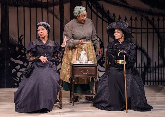 Linda Bright Clay, Jacqueline Williams, and Lizan Mitchell in THE HOUSE THAT WILL NOT STAND. Photo by Michael Courier.