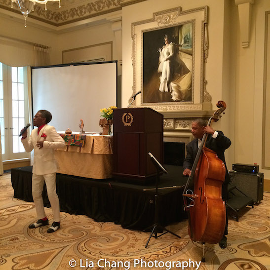 "André De Shields performed ""Smile"" from his upcoming CONFESSIONS OF A P.I.M.P., accompanied by bassist Tony Mhoon at the Black Theatre Network's 30th Anniversary Conference Awards Bruncheon at the Palmer House Hilton in Chicago on August 9, 2016. Photo by Lia Chang"