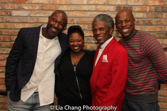 SMOKEY JOES CAFE castmembers Tyrone Robinson, Donica Lynn and Chris Sams visit with André De Shields after a performance of CONFESSIONS OF A P.I.M.P. at Victory Gardens in Chicago on August 27, 2016. Photo by Lia Chang