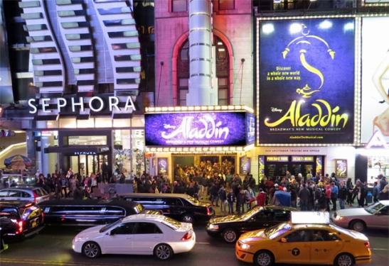 Night shot of Disney's Aladdin Broadway Show in NYC, exterior view at the New Amsterdam Theatre