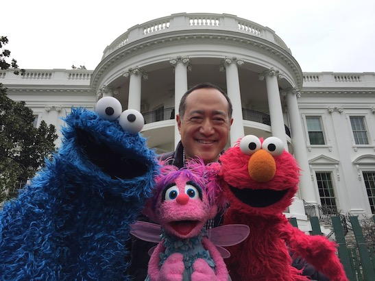 SESAME STREET's Alan Muraoka performed at the White House for their annual Easter Egg Roll in 2016. Photo by Lia Chang