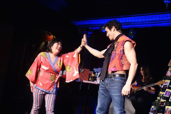 Ann Harada and Adam Jacobs in the 4th installment of Christmas Eve's Holiday Hunkfest, a benefit for BC/EFA in 2015. Photo courtesy of Alan Muraoka