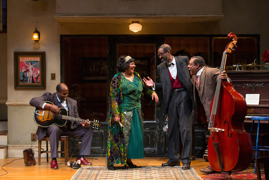 Arnetia Walker as Ma Rainey with James A. Williams (Cutler), Brian D. Coats (Toledo), and Harvy Blanks (Slow Drag) in August Wilson's Ma Rainey's Black Bottom at Two River Theater. Photo by T. Charles Erickson