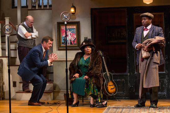 Peter Van Wagner (Sturdyvant), Michael Cumpsty (Irvin), Arnetia Walker (Ma Rainey) and Marcel Spears (Sylvester) in August Wilson's Ma Rainey's Black Bottom at Two River Theater. Photo by T. Charles Erickson