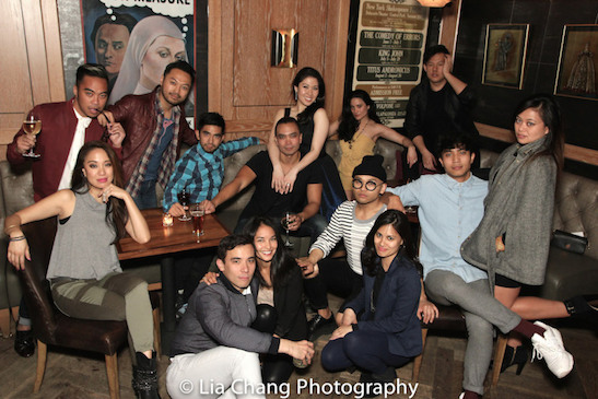 A HERE LIES LOVE REUNION – Back row- Jaygee Macapugay, Enrico Rodriguez, Billy Bustamante, Aaron J. Albano, Jose Llana, Ruthie Ann Miles, Diane De Boer and Kelvin Moon Loh. Front Row: Conrad Ricamora, Janelle Velasquez, Debralee Daco, Jeigh Madjus, Trevor Salter and Renee Abulario. Photo by Lia Chang