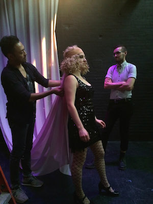 "Billy Bustamante, Jodi Bluestein and costume designer DW in tech for ""The Wild Party"" at TBG Theater. Photo by Lia Chang"