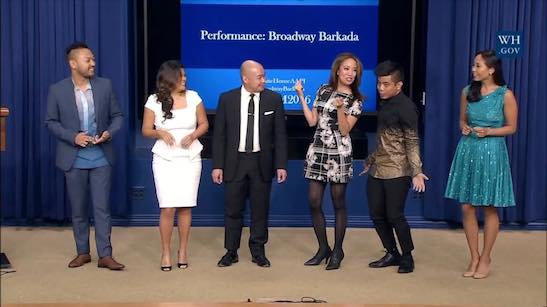Billy Bustamante, Liz Casasola, Brian Jose, Jaygee Macapugay, Jon Viktor Corpuz and Emily Borromeo perform at the White House on October 24, 2016. Photo courtesy of Peyton Royale