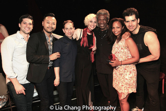 "Sam Edgerly, Billy Bustamante, Garth Kravits, Jamey Hood, Andre De Shields, Lauren Hooper and Denis Lambert at the opening night party of ""The Wild Party"". Photo by Lia Chang"