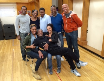 Monday, October 24, 2016: third day of Yale Rep's SEVEN GUITARS rehearsal. Left to right: Billy Eugene Jones (Floyd); Stephanie Berry (Louise); Wayne T. Carr (Canewell); Danny Johnson (Red Carter); Timothy Douglas (Director); Antoinette Crowe-Legacy (Ruby); André De Shields (Hedley) and Rachel Leslie (Vera).