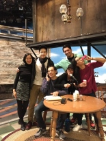 Lia Chang with the cast of VIETGONE- Raymond Lee, Paco Tolson, Samantha Quan, Jon Hoche and Jennifer Ikeda on the set at the Manhattan Theatre Club in New York on November 4, 2016. Photo by Garth Kravits