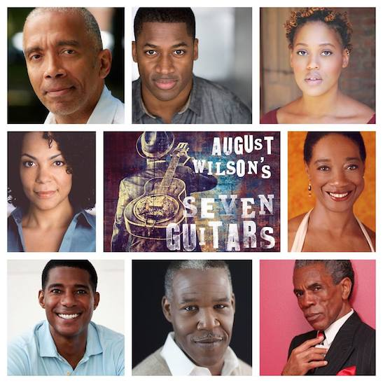Clockwise from top left - director Timothy Douglas and the cast of August Wilson's SEVEN GUITARS: Wayne T. Carr, Antoinette Crowe-Legacy, Stephanie Berry, André De Shields, Danny Johnson, Billy Eugene Jones, and Rachel Leslie.