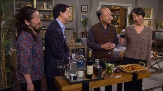 Suzy Nakamura, Ken Jeong, Clyde Kusatsu and Jeanne Sakata in the latest Thanksgiving episode of ABC's DR. KEN.